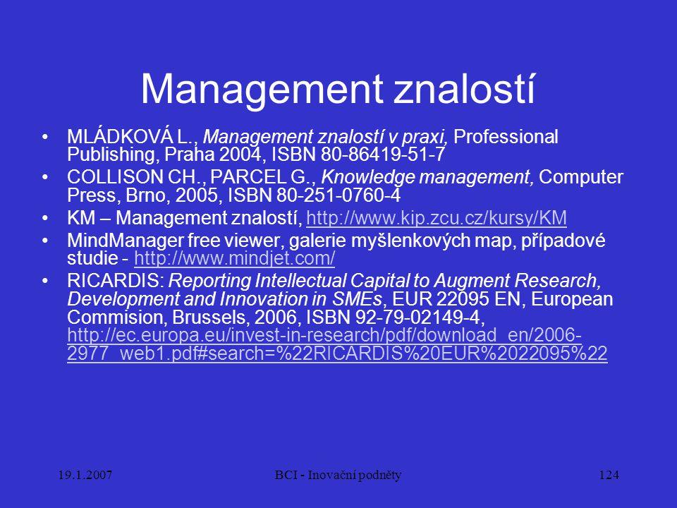 19.1.2007BCI - Inovační podněty124 Management znalostí MLÁDKOVÁ L., Management znalostí v praxi, Professional Publishing, Praha 2004, ISBN 80-86419-51