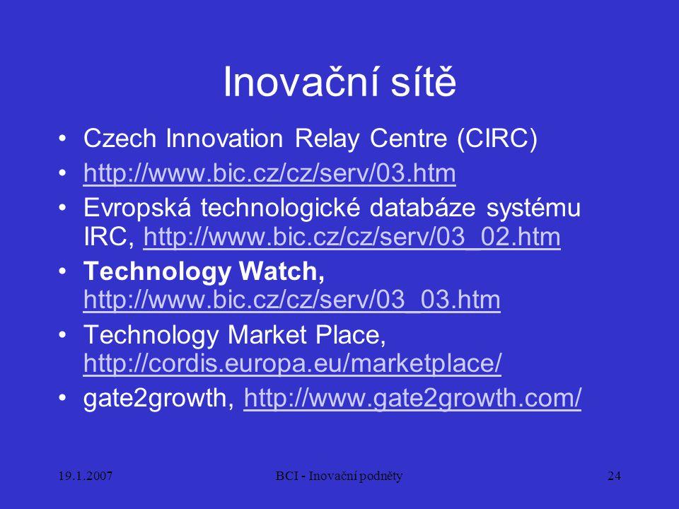 19.1.2007BCI - Inovační podněty24 Inovační sítě Czech Innovation Relay Centre (CIRC) http://www.bic.cz/cz/serv/03.htm Evropská technologické databáze