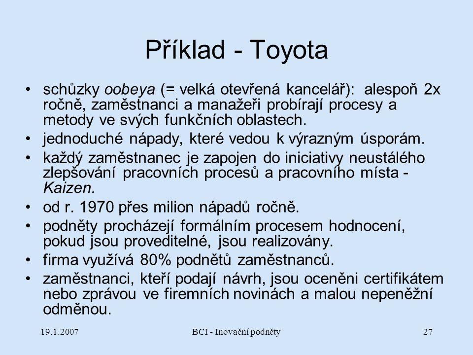 19.1.2007BCI - Inovační podněty27 Příklad - Toyota schůzky oobeya (= velká otevřená kancelář): alespoň 2x ročně, zaměstnanci a manažeři probírají proc
