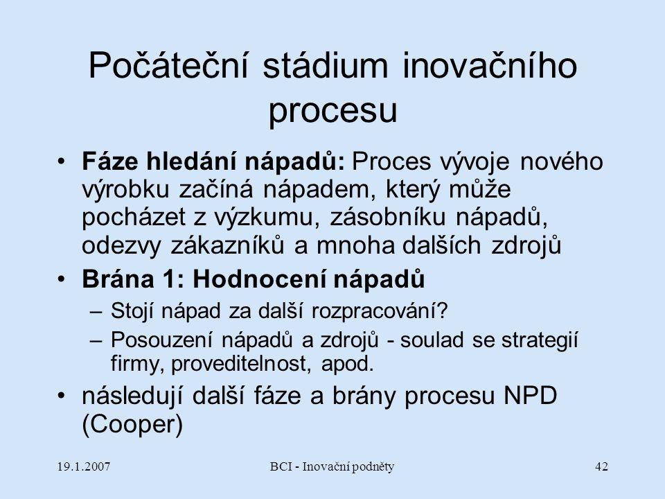 19.1.2007BCI - Inovační podněty42 Počáteční stádium inovačního procesu Fáze hledání nápadů: Proces vývoje nového výrobku začíná nápadem, který může po