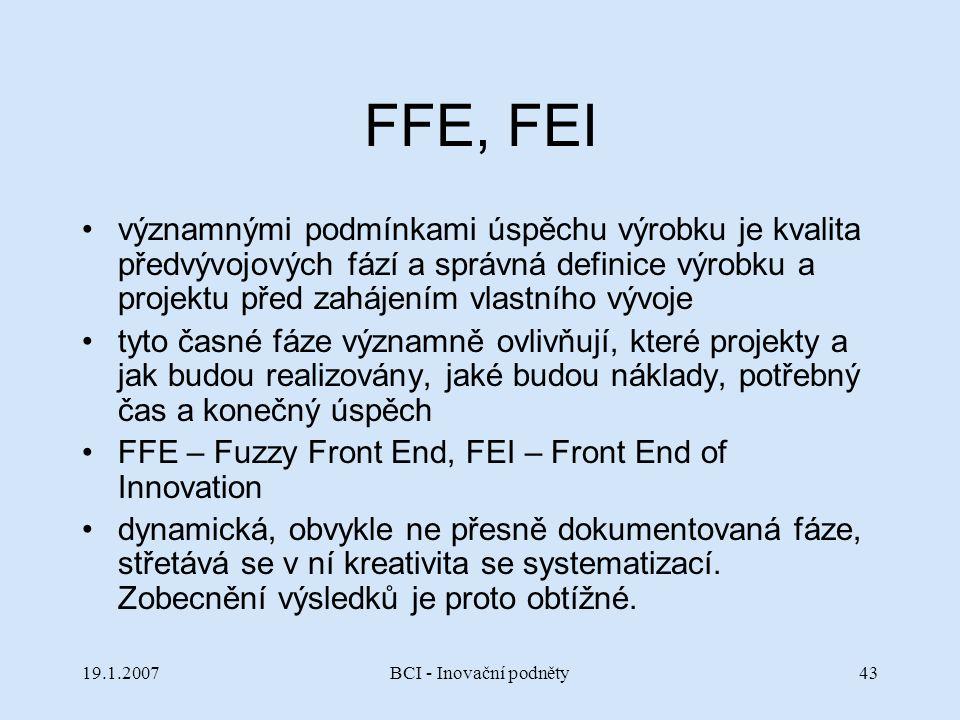 19.1.2007BCI - Inovační podněty43 FFE, FEI významnými podmínkami úspěchu výrobku je kvalita předvývojových fází a správná definice výrobku a projektu