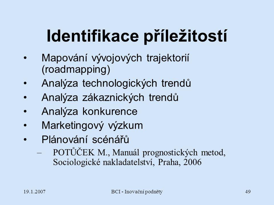 19.1.2007BCI - Inovační podněty49 Identifikace příležitostí Mapování vývojových trajektorií (roadmapping) Analýza technologických trendů Analýza zákaz