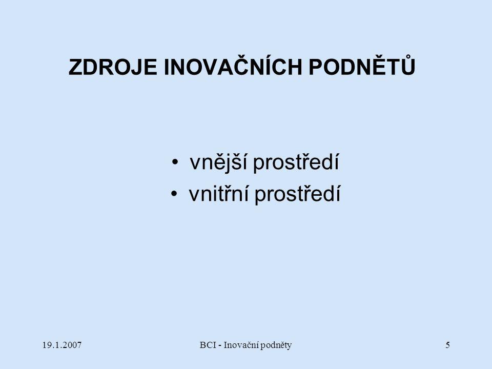 19.1.2007BCI - Inovační podněty86 Náhodná slova seznam kontextově bohatých slov, z něhož se náhodně vybere a hledá se spojení mezi tímto slovem a zkoumaným problémem.
