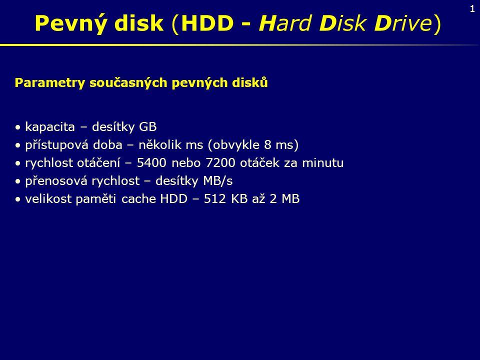 1 Pevný disk (HDD - Hard Disk Drive) Parametry současných pevných disků kapacita – desítky GB přístupová doba – několik ms (obvykle 8 ms) rychlost otá