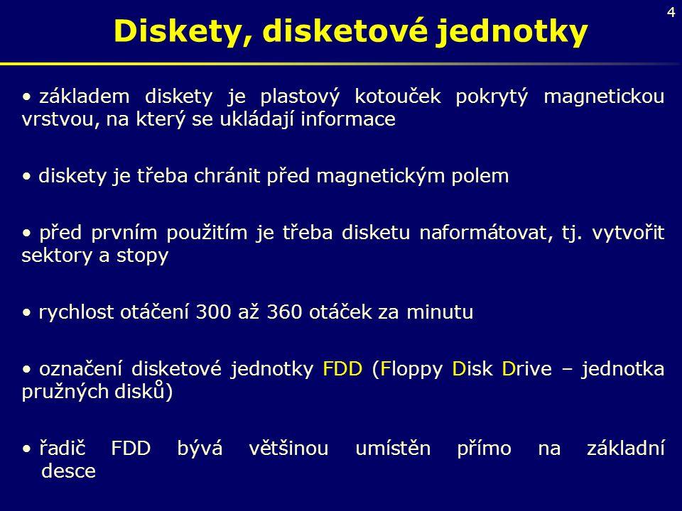 4 Diskety, disketové jednotky základem diskety je plastový kotouček pokrytý magnetickou vrstvou, na který se ukládají informace diskety je třeba chrán