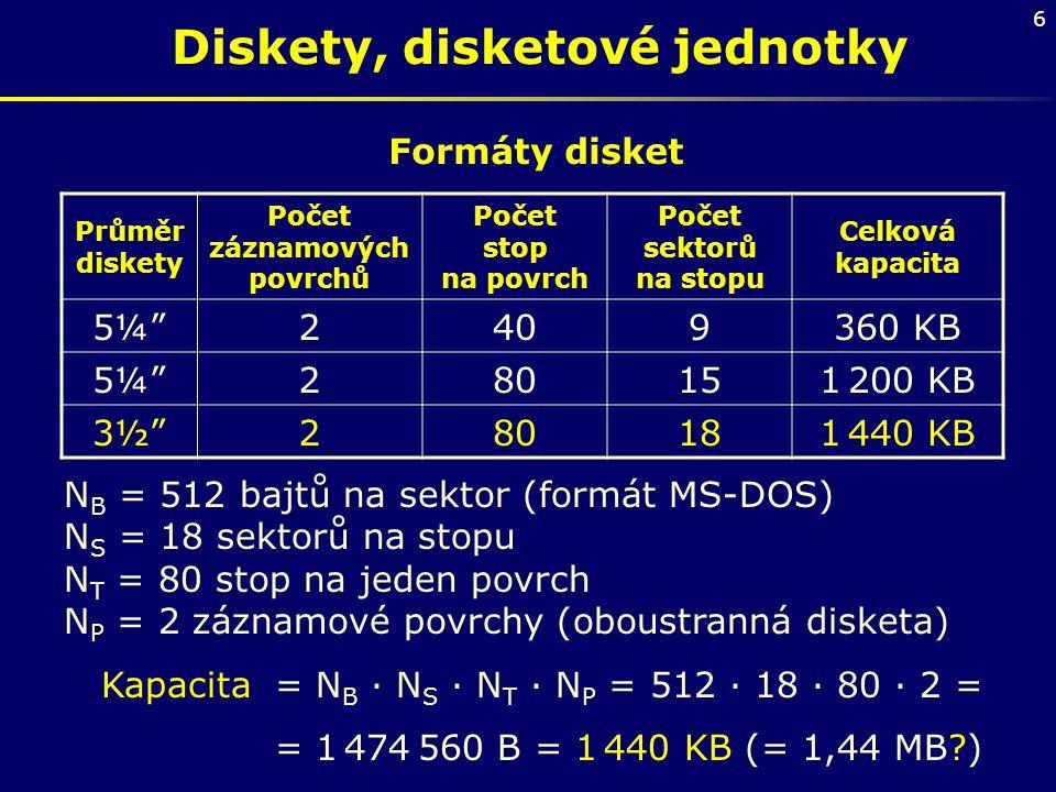 """6 Diskety, disketové jednotky Formáty disket Průměr diskety Počet záznamových povrchů Počet stop na povrch Počet sektorů na stopu Celková kapacita 5¼"""""""