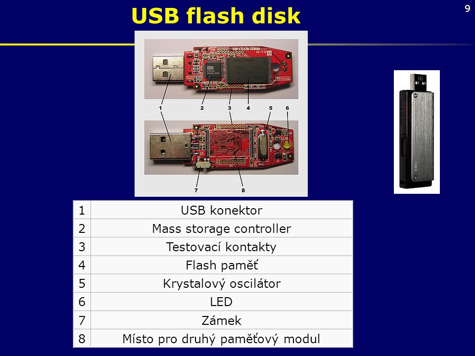 9 USB flash disk 1USB konektor 2Mass storage controller 3Testovací kontakty 4Flash paměť 5Krystalový oscilátor 6LED 7Zámek 8Místo pro druhý paměťový m