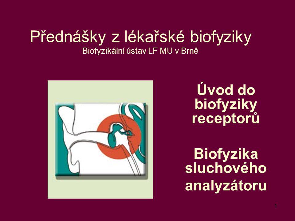 1 Přednášky z lékařské biofyziky Biofyzikální ústav LF MU v Brně Úvod do biofyziky receptorů Biofyzika sluchového analyzátoru