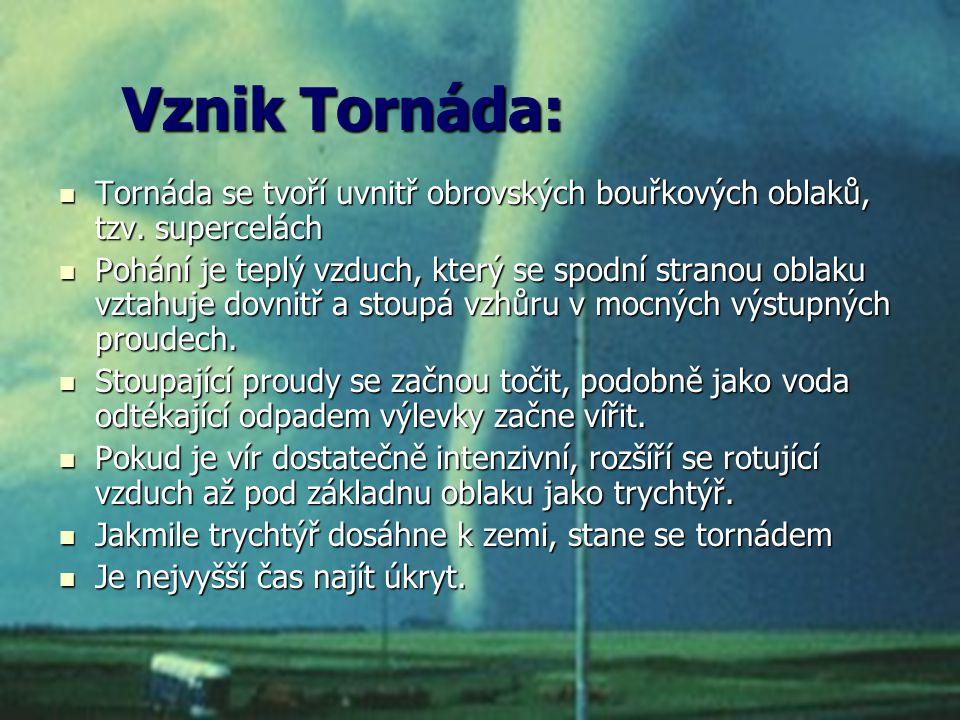 Vznik Tornáda: Tornáda se tvoří uvnitř obrovských bouřkových oblaků, tzv. supercelách Tornáda se tvoří uvnitř obrovských bouřkových oblaků, tzv. super