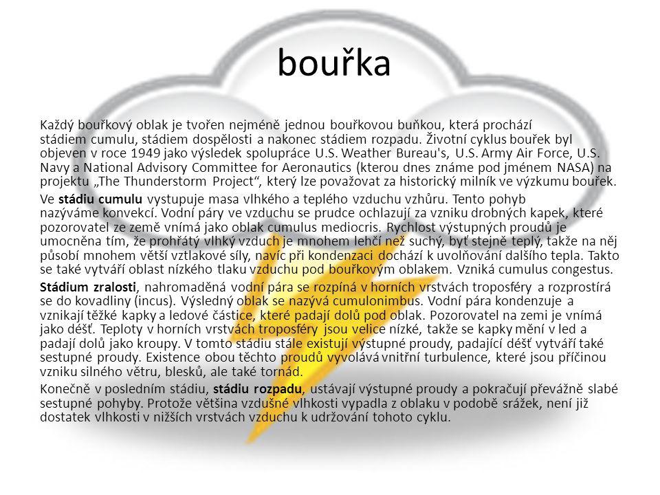 bouřka Každý bouřkový oblak je tvořen nejméně jednou bouřkovou buňkou, která prochází stádiem cumulu, stádiem dospělosti a nakonec stádiem rozpadu. Ži