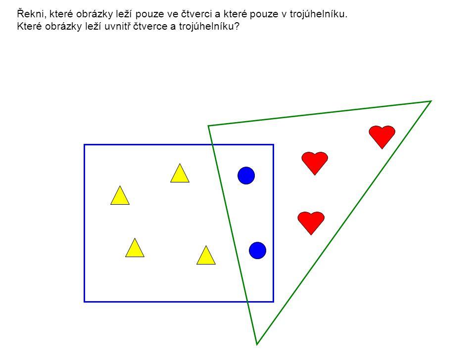 Řekni, které obrázky leží pouze ve čtverci a které pouze v trojúhelníku. Které obrázky leží uvnitř čtverce a trojúhelníku?