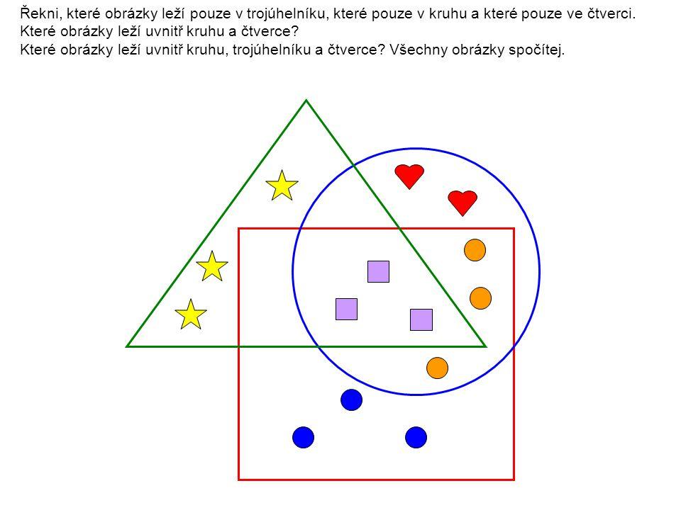 Řekni, které obrázky leží pouze v trojúhelníku, které pouze v kruhu a které pouze ve čtverci. Které obrázky leží uvnitř kruhu a čtverce? Které obrázky