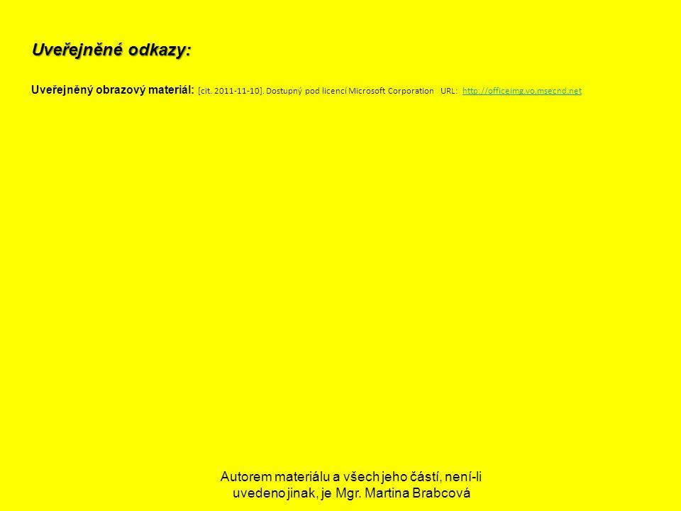 Uveřejněné odkazy: Uveřejněný obrazový materiál: [cit. 2011-11-10]. Dostupný pod licencí Microsoft Corporation URL: http://officeimg.vo.msecnd.nethttp