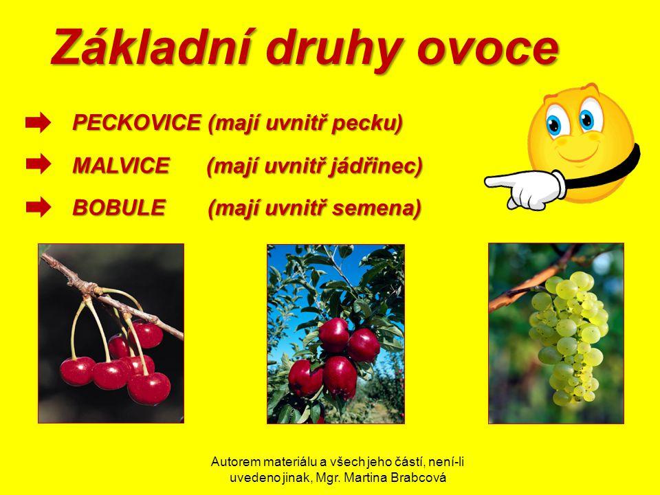 Autorem materiálu a všech jeho částí, není-li uvedeno jinak, Mgr. Martina Brabcová Základní druhy ovoce PECKOVICE (mají uvnitř pecku) MALVICE (mají uv