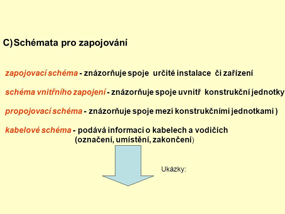 C)Schémata pro zapojování zapojovací schéma - znázorňuje spoje určité instalace či zařízení schéma vnitřního zapojení - znázorňuje spoje uvnitř konstr