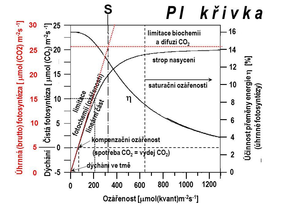 dýchání rychlost fotosyntézy [  mol (CO2) m -2 s -1 ] mezibuněčný CO 2 v listu vnější CO 2 v okolí listu Teplota 25 o C Ozářenost 1200 mol (kvant) m -2 s -1 snížení odporem při difuzi CO 2 do listu a v něm dodávka RuBP dostatečná limitace koncentrací RuBP karboxylace nasycena limitace karboxylací tj.