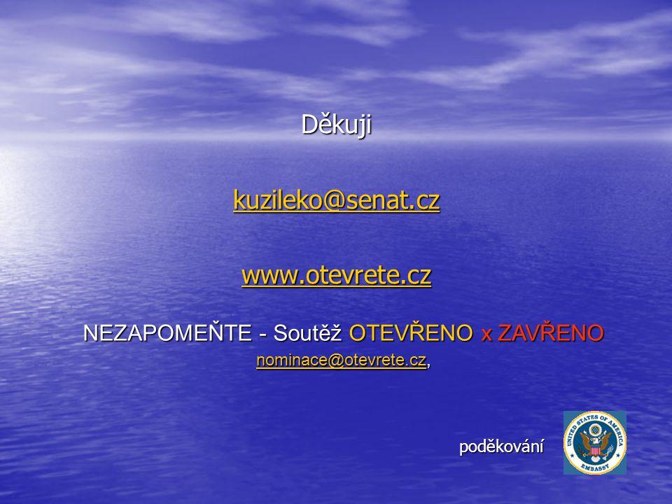 Děkuji kuzileko@senat.cz www.otevrete.cz NEZAPOMEŇTE - Soutěž OTEVŘENO x ZAVŘENO nominace@otevrete.cznominace@otevrete.cz, nominace@otevrete.cz poděkování