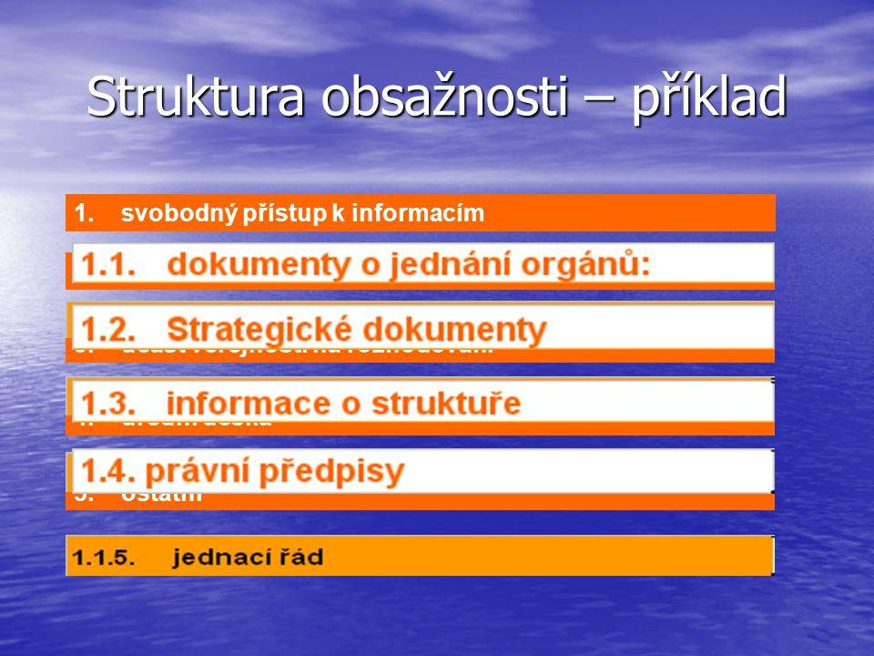 5. ostatní 4. úřední deska 3. účast veřejnosti na rozhodování 2. otevřenost rozhodování Struktura obsažnosti – příklad 1. svobodný přístup k informací