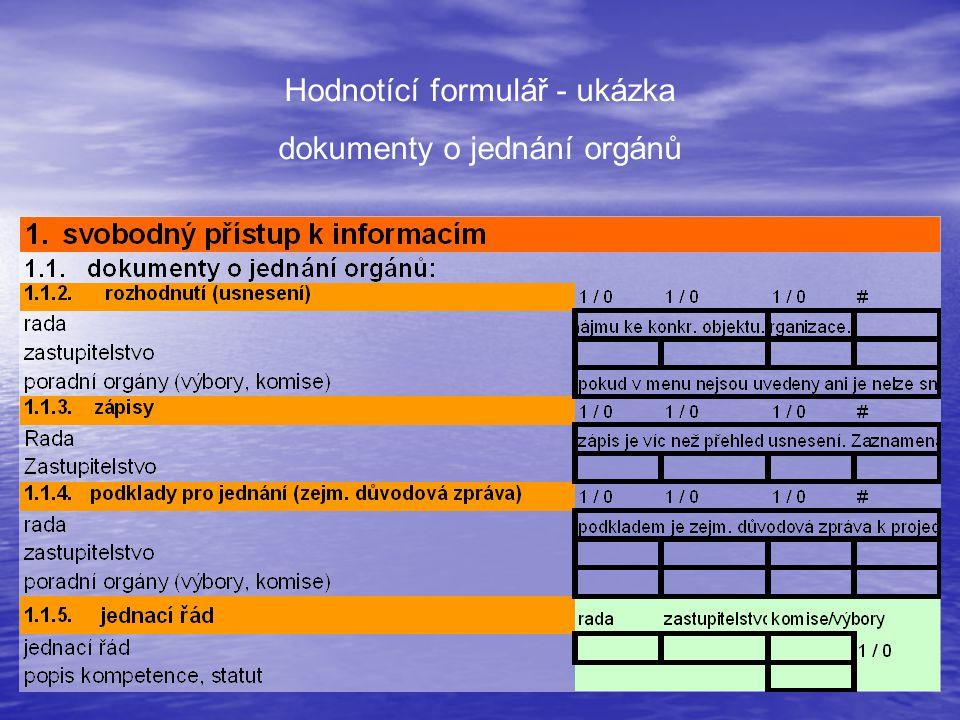 Hodnotící formulář - ukázka dokumenty o jednání orgánů