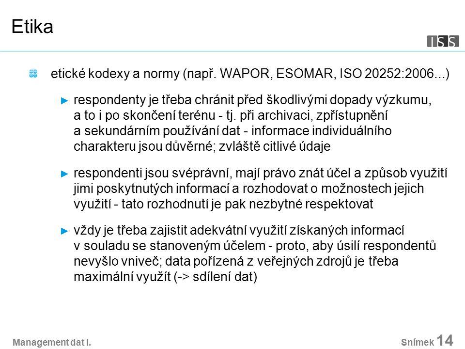Management dat I. Snímek 14 Etika etické kodexy a normy (např.