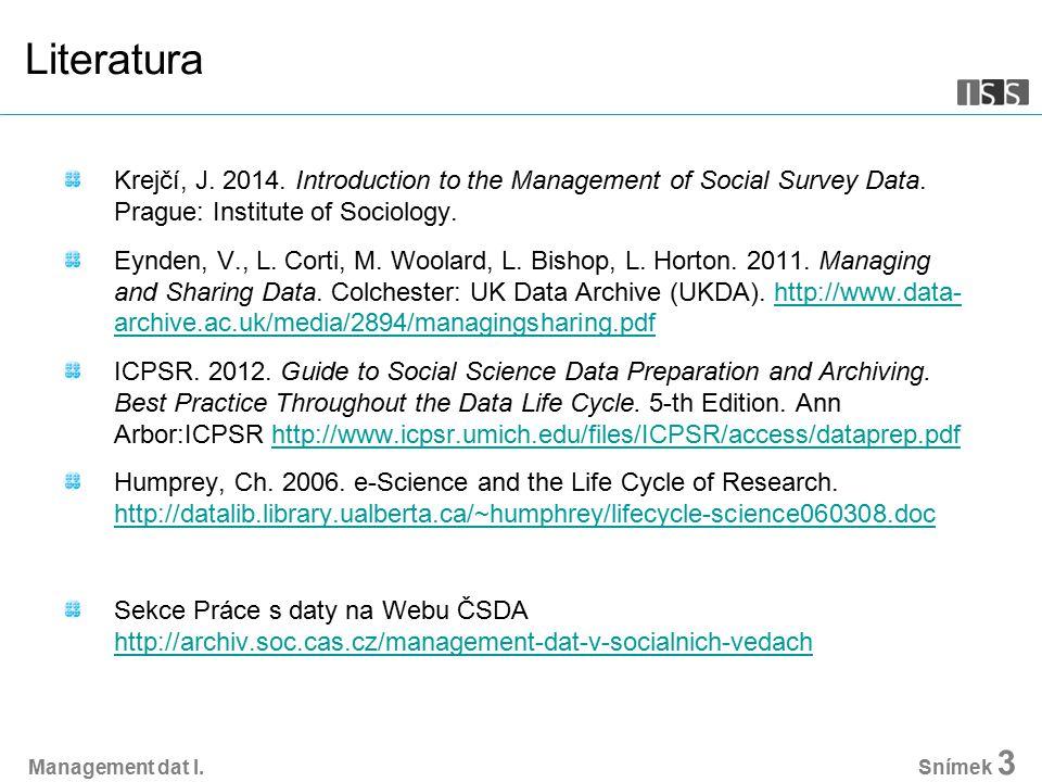 Management dat I.Snímek 14 Etika etické kodexy a normy (např.
