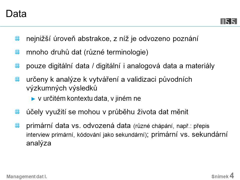 Management dat I.Snímek 15 Ochrana osobních údajů Zákon č.