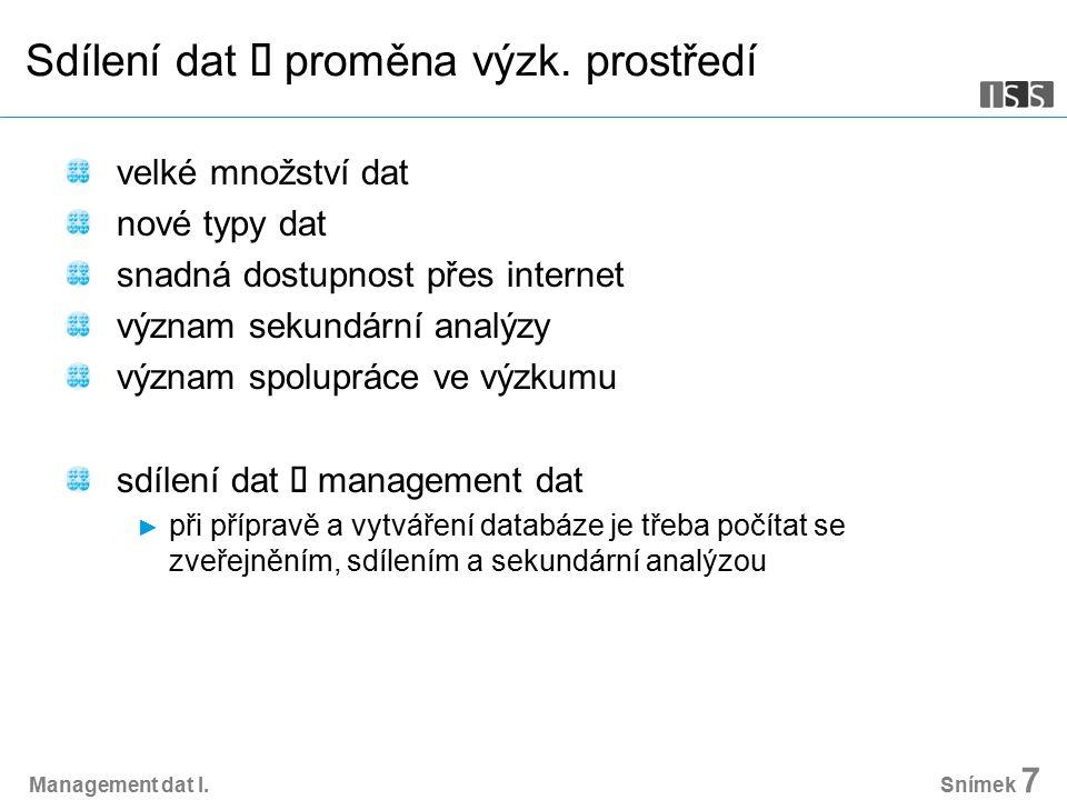 Management dat I. Snímek 7 Sdílení dat  proměna výzk.