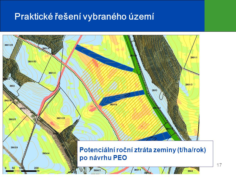 17 Praktické řešení vybraného území Potenciální roční ztráta zeminy (t/ha/rok) po návrhu PEO