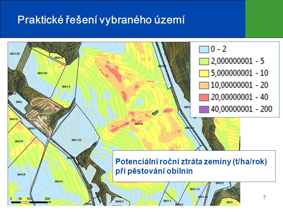 8 Praktické řešení vybraného území Protierozní agrotechnika Zasakovací pás Protierozní mez Stabilizace DSO Plošná PEO: Liniová PEO: