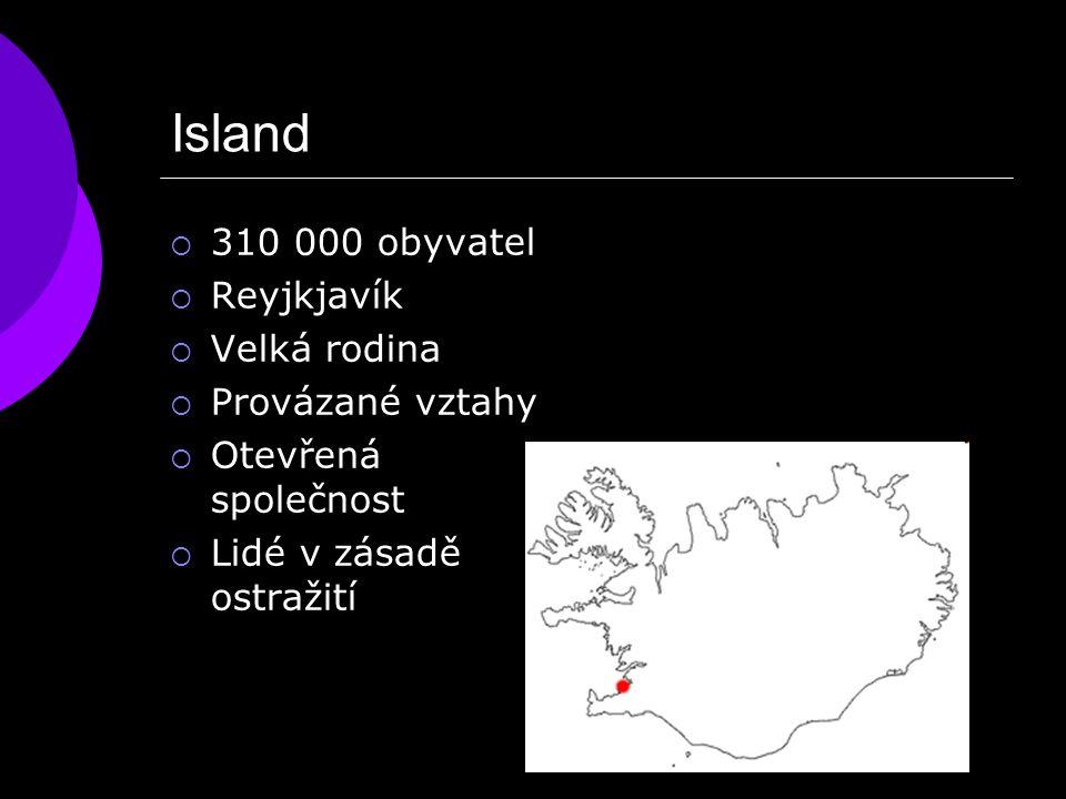 Island  310 000 obyvatel  Reyjkjavík  Velká rodina  Provázané vztahy  Otevřená společnost  Lidé v zásadě ostražití