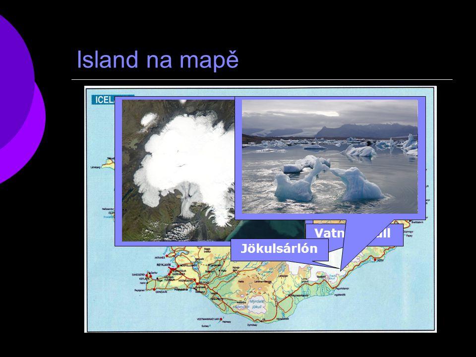 Island na mapě Vatnajökull Jökulsárlón