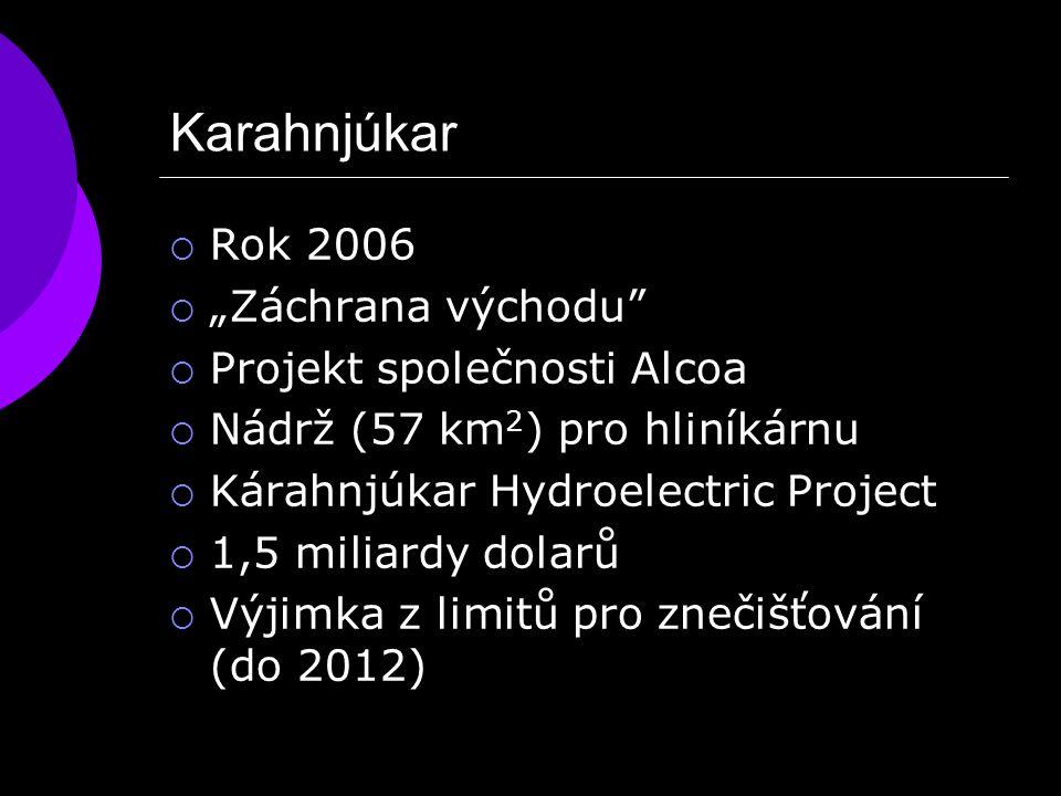 """Karahnjúkar  Rok 2006  """"Záchrana východu  Projekt společnosti Alcoa  Nádrž (57 km 2 ) pro hliníkárnu  Kárahnjúkar Hydroelectric Project  1,5 miliardy dolarů  Výjimka z limitů pro znečišťování (do 2012)"""