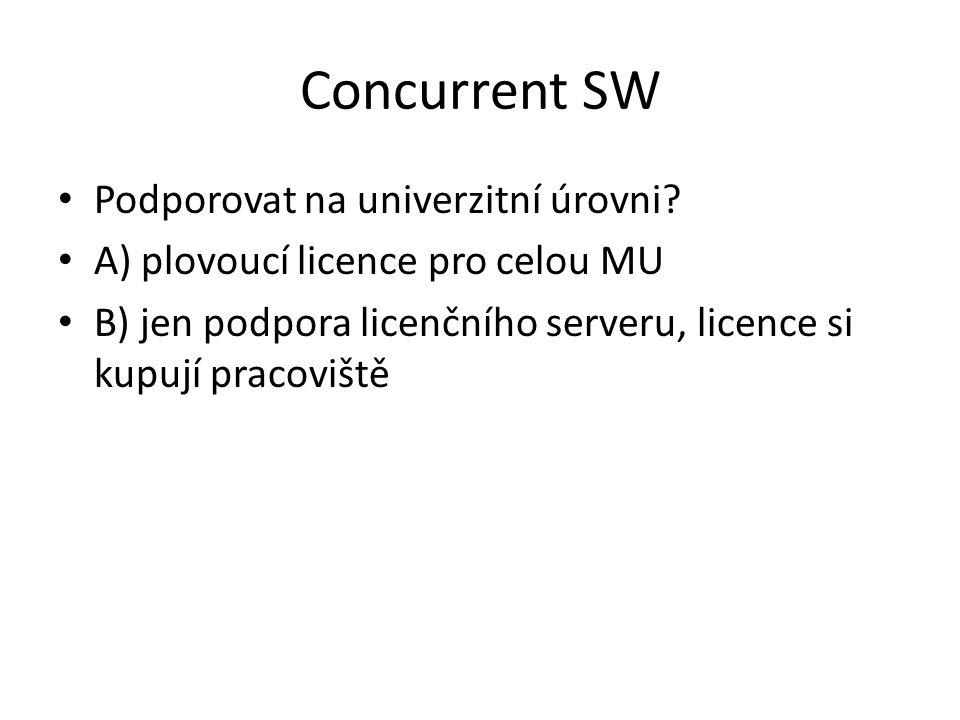 Concurrent SW Podporovat na univerzitní úrovni? A) plovoucí licence pro celou MU B) jen podpora licenčního serveru, licence si kupují pracoviště