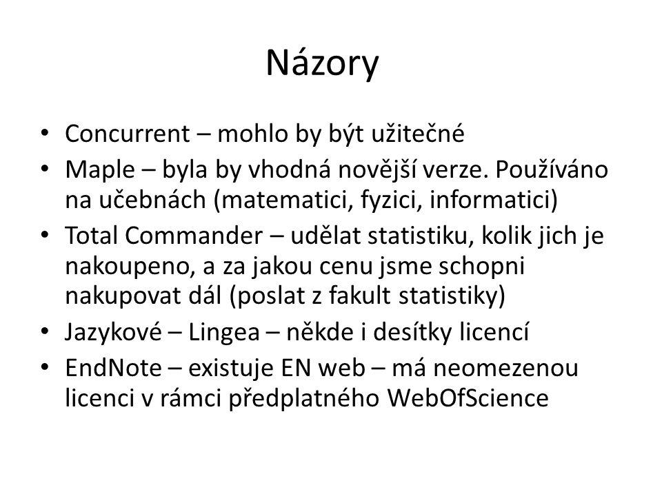 Názory Concurrent – mohlo by být užitečné Maple – byla by vhodná novější verze. Používáno na učebnách (matematici, fyzici, informatici) Total Commande