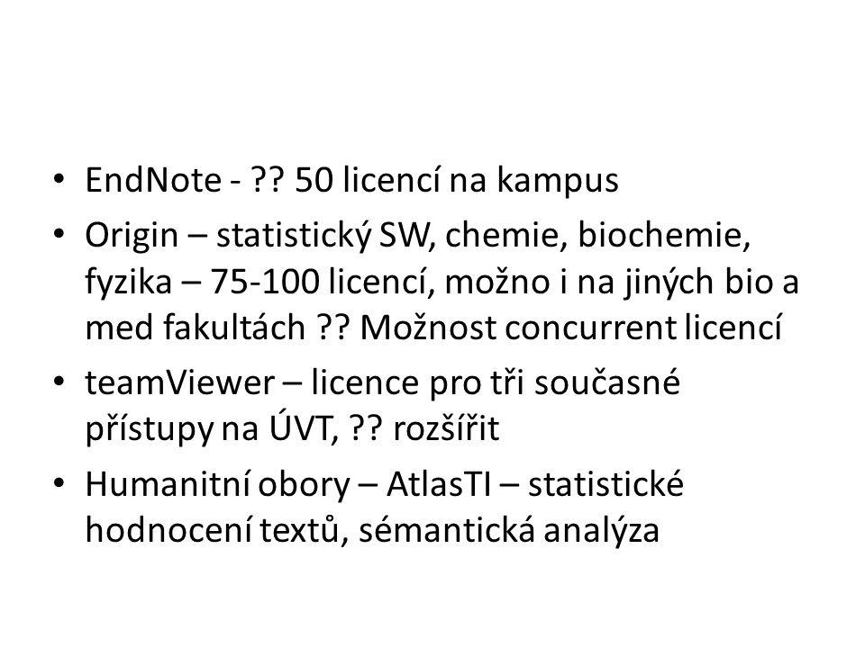 EndNote - ?? 50 licencí na kampus Origin – statistický SW, chemie, biochemie, fyzika – 75-100 licencí, možno i na jiných bio a med fakultách ?? Možnos