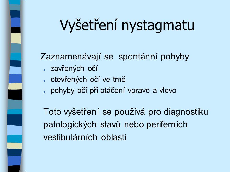 Vyšetření nystagmatu Zaznamenávají se spontánní pohyby l zavřených očí l otevřených očí ve tmě l pohyby očí při otáčení vpravo a vlevo Toto vyšetření