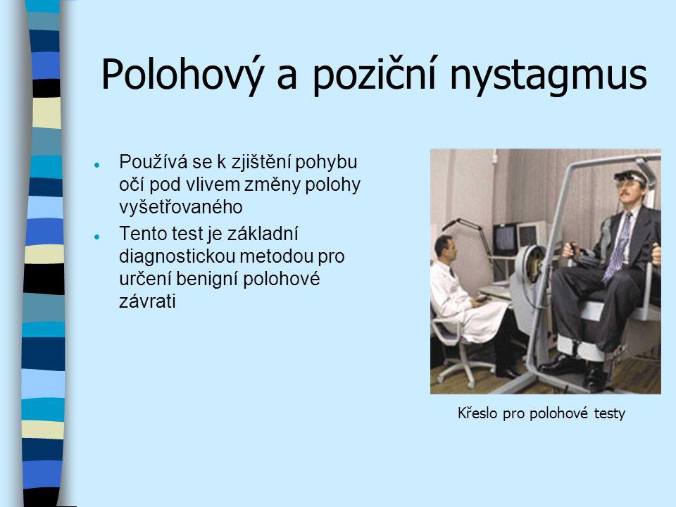 Polohový a poziční nystagmus l Používá se k zjištění pohybu očí pod vlivem změny polohy vyšetřovaného l Tento test je základní diagnostickou metodou p