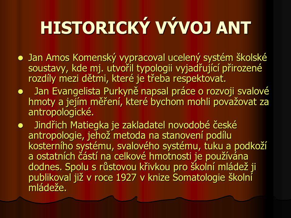 HISTORICKÝ VÝVOJ ANT Jan Amos Komenský vypracoval ucelený systém školské soustavy, kde mj.
