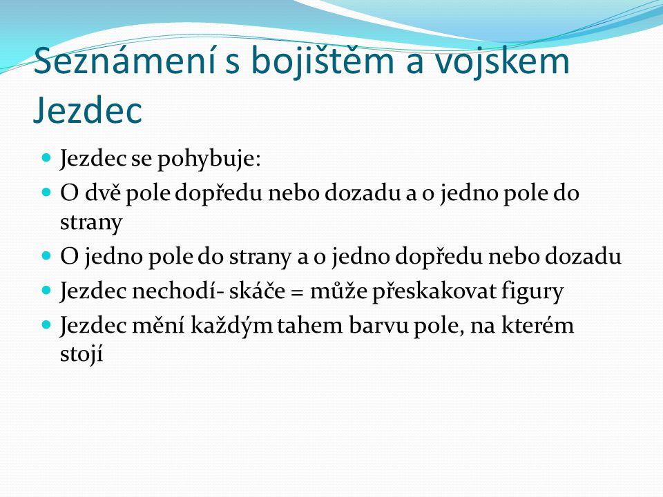 Seznámení s bojištěm a vojskem Jezdec Jezdec se pohybuje: O dvě pole dopředu nebo dozadu a o jedno pole do strany O jedno pole do strany a o jedno dopředu nebo dozadu Jezdec nechodí- skáče = může přeskakovat figury Jezdec mění každým tahem barvu pole, na kterém stojí