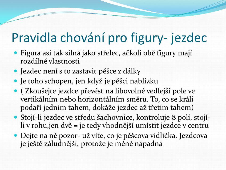 Pravidla chování pro figury- jezdec Figura asi tak silná jako střelec, ačkoli obě figury mají rozdílné vlastnosti Jezdec není s to zastavit pěšce z dá