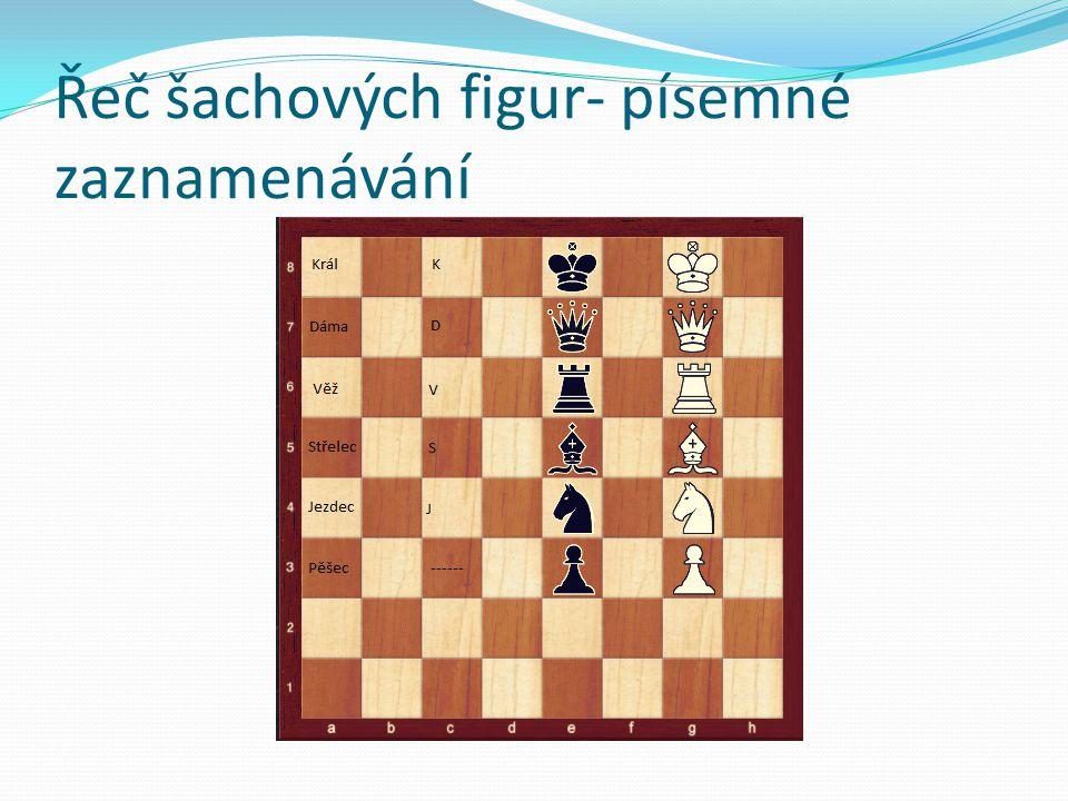 Řeč šachových figur- písemné zaznamenávání