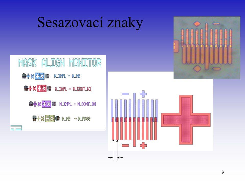 10 Kontrola sesazení Nepřesnost sesazení: -1,5 μm