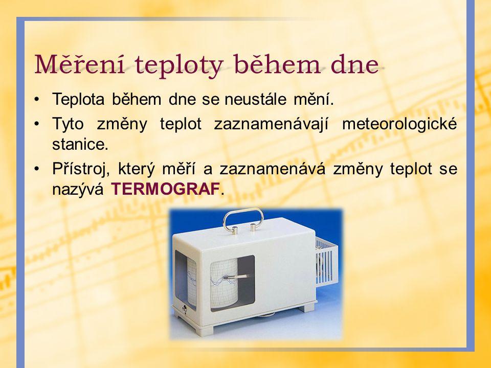 Termograf - princip Změny teplot vzduchu způsobují, že se ručička, která je připevněna na bimetalový pásek, vychyluje směrem nahoru a dolů.
