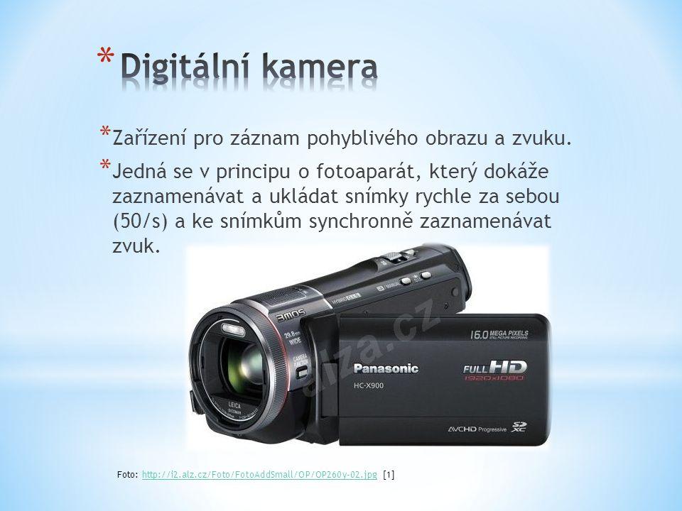 * Dříve digitální kamery zaznamenávaly zvuk na magnetickou pásku nebo disk, dnes již v podstatě pouze na paměťovou kartu nebo do vnitřní flash paměti kamery.