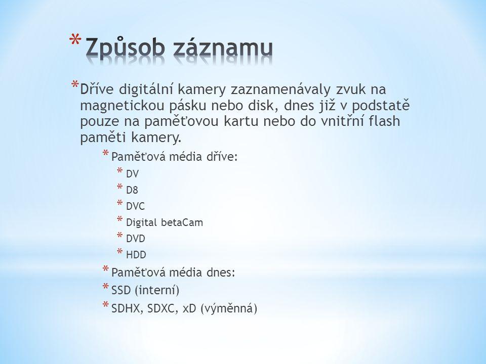 * Amatérské – vhodné pro většinu uživatelů, pro rodinné záznamy a archívy, rozměrově jsou malé, lehké a hlavně levné (fullHD od 3 tisíc).