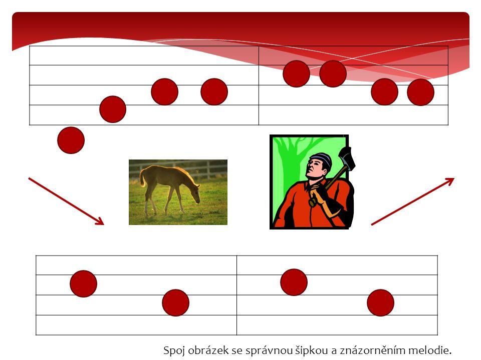 Spoj obrázek se správnou šipkou a znázorněním melodie.