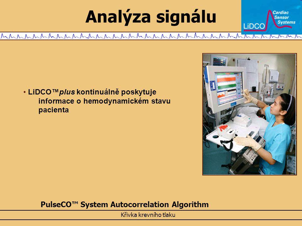 Analýza signálu LiDCO™plus kontinuálně poskytuje informace o hemodynamickém stavu pacienta PulseCO™ System Autocorrelation Algorithm Křivka krevního t
