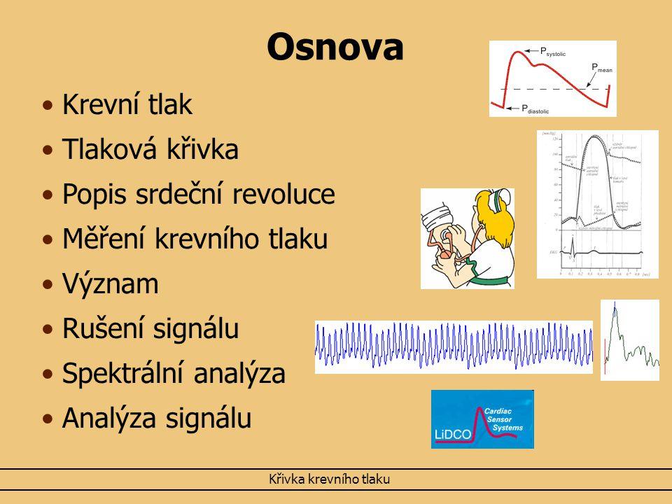 Osnova Krevní tlak Tlaková křivka Popis srdeční revoluce Měření krevního tlaku Význam Rušení signálu Spektrální analýza Analýza signálu