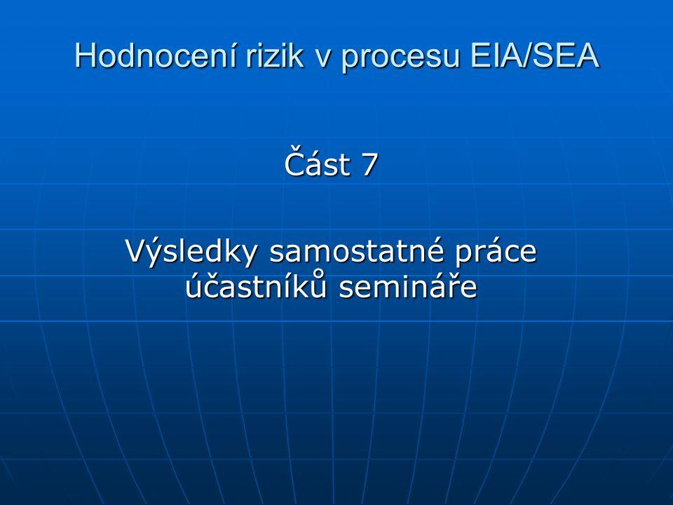 Hodnocení rizik v procesu EIA/SEA Část 7 Výsledky samostatné práce účastníků semináře