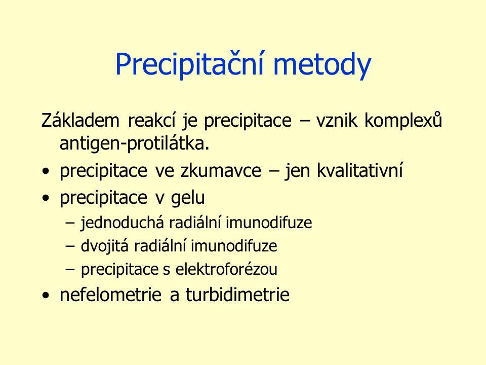 Precipitační metody Základem reakcí je precipitace – vznik komplexů antigen-protilátka. precipitace ve zkumavce – jen kvalitativní precipitace v gelu